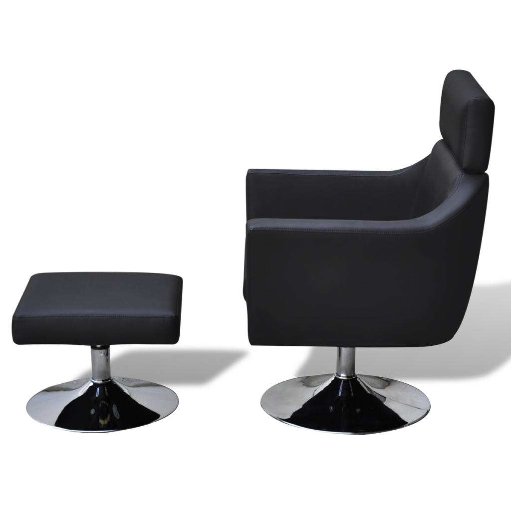 Ordinaire Black Home TV Armchair Artificial Leather Adjustable With Foot Stool Black    LovDock.com