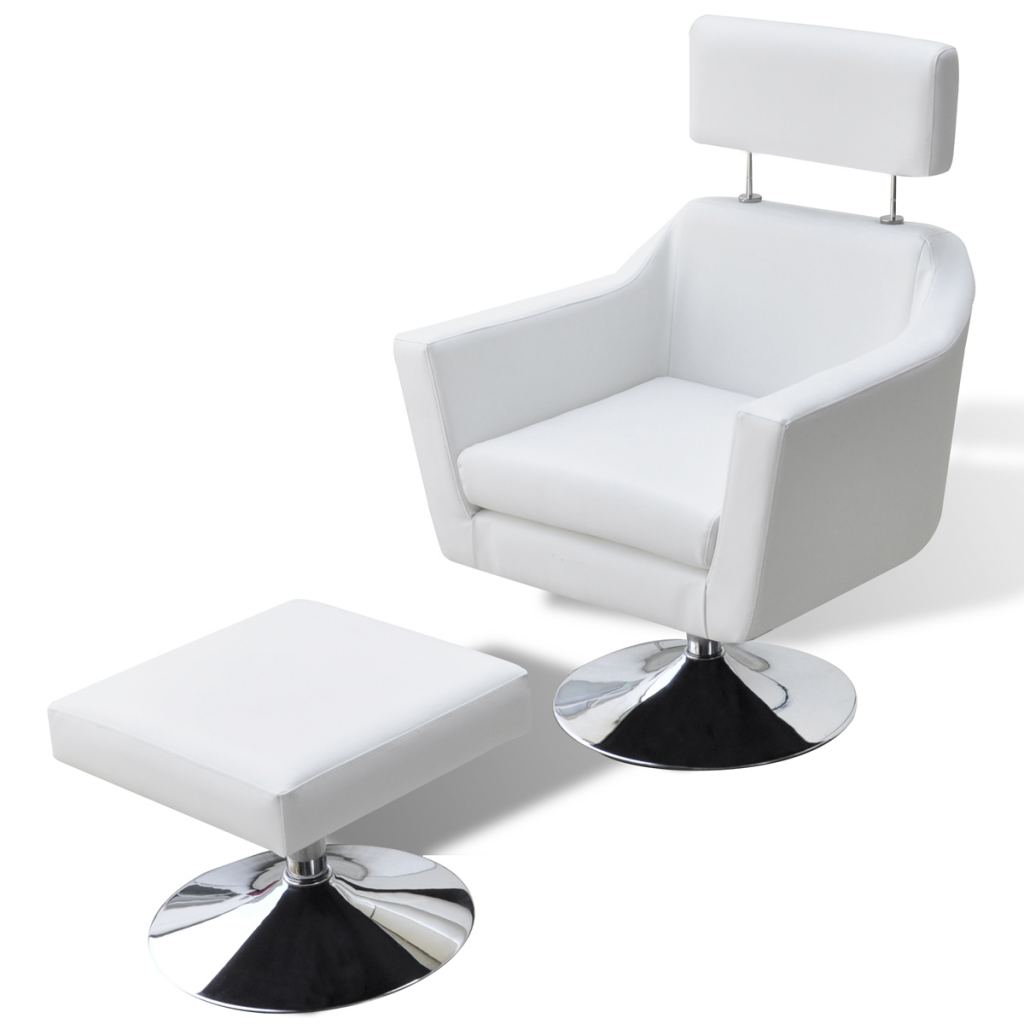 Home TV Armchair Artificial Leather Adjustable With Foot Stool White