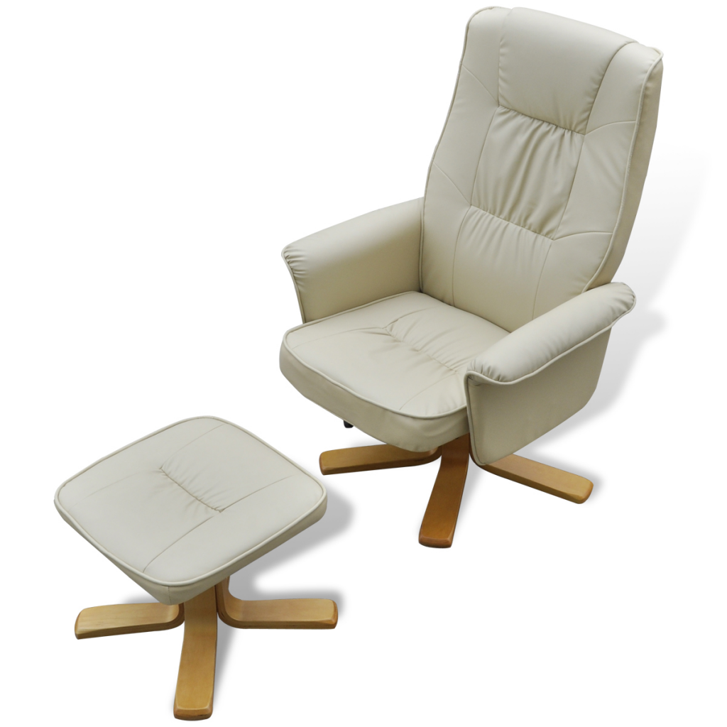 TV Armchair Recliner Artificial Leather Cream White With Footrest