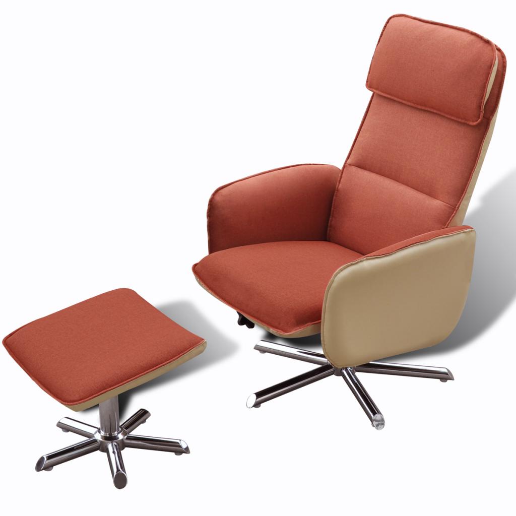 Orange Home TV Armchair Adjustable Recliner With Foot Stool Orange    LovDock.com
