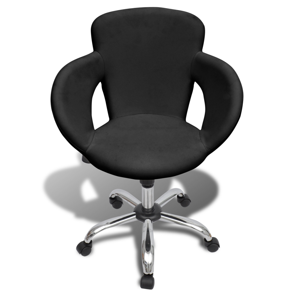 Professional Salon Spa Black Swivel Chair, Backrest And Armrests
