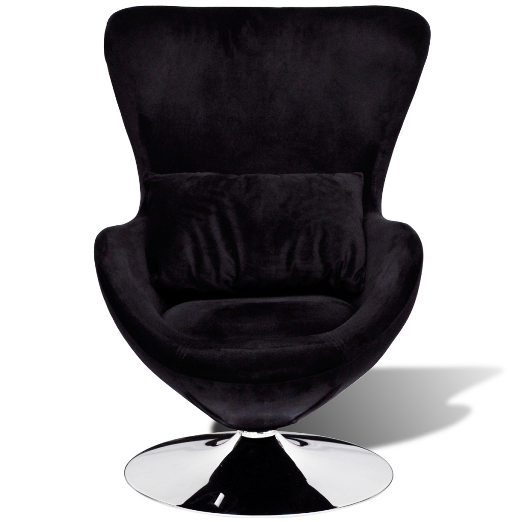 Attrayant Small Black Egg Swivel Chair With Cushion