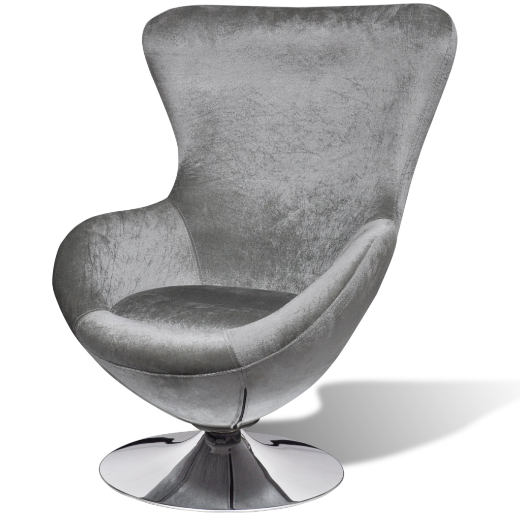 Silver Egg Swivel Chair With Cushion