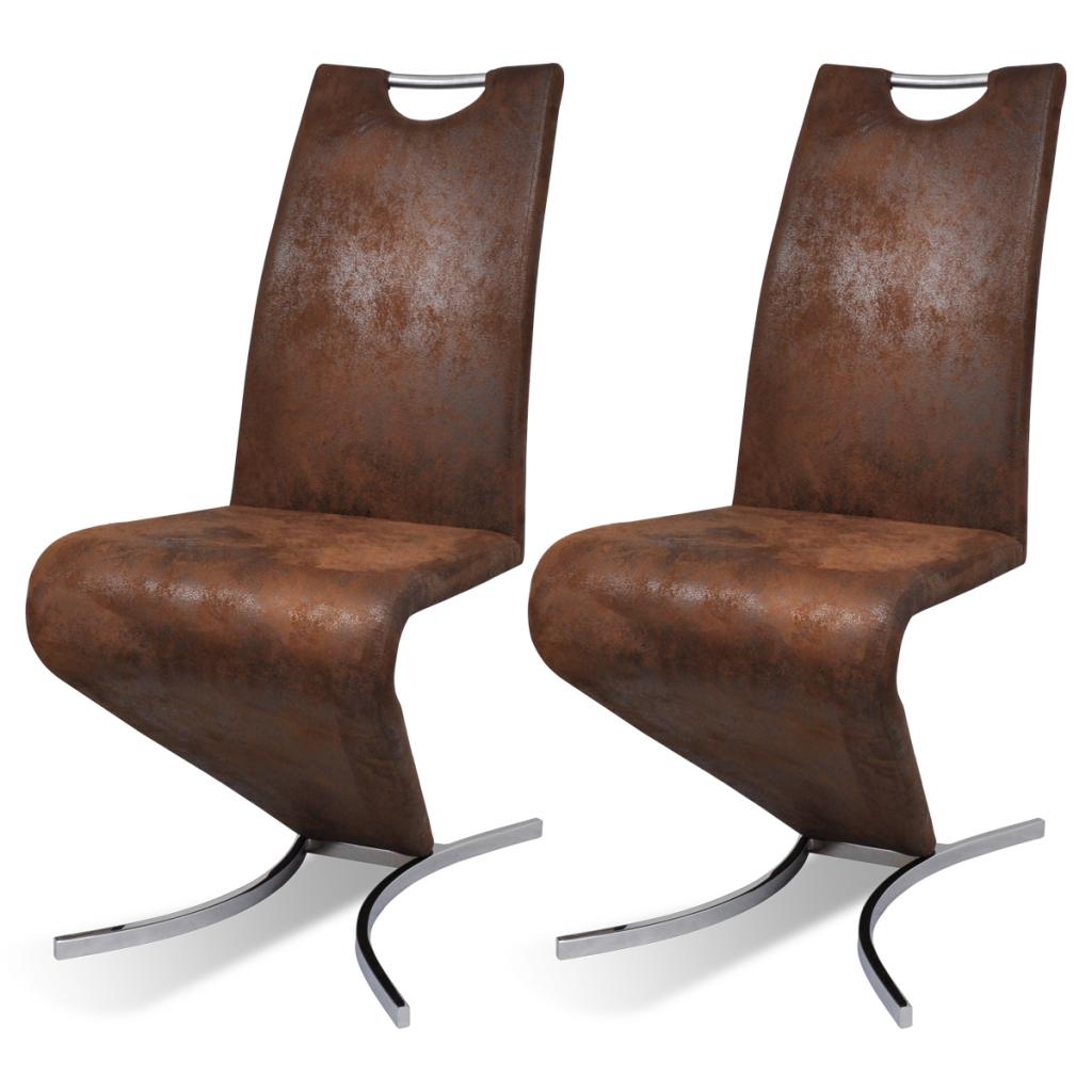 Brown Leather Rocking Chair Artificilale Lean On H 2 Pcs