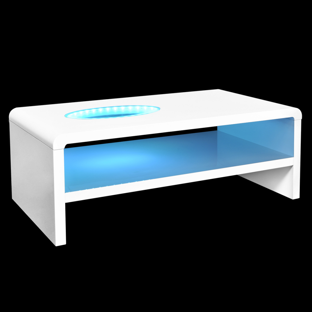 White Coffee Table For Brilliant With Led Light 42 Cm Lovdock Com