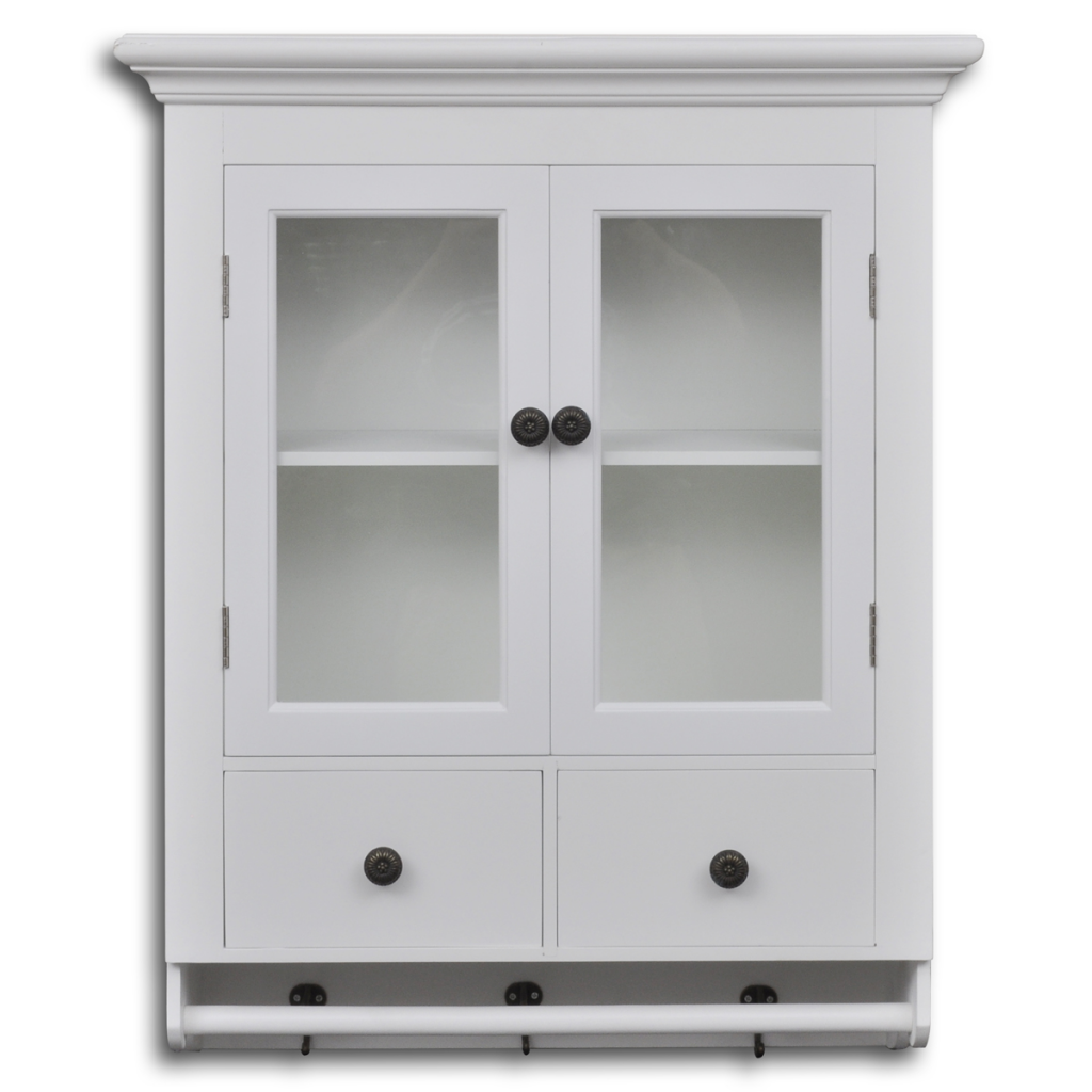 Wall Cabinet In White Wood Kitchen With Glass Door