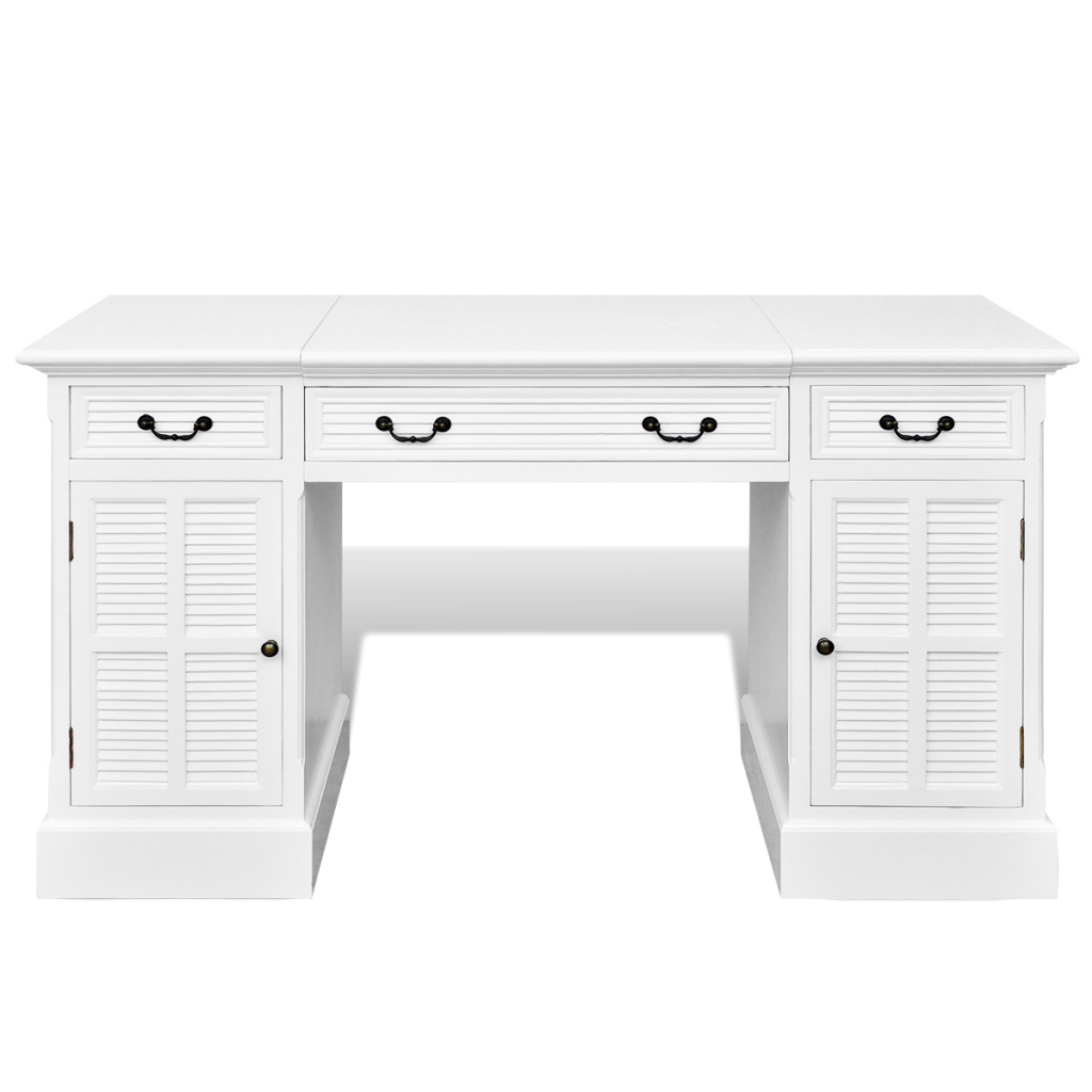 white White Doublepedestal Desk with Cupboards and Drawers