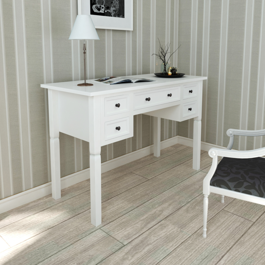 White white desk with 5 drawers for Bureau style romantique blanc