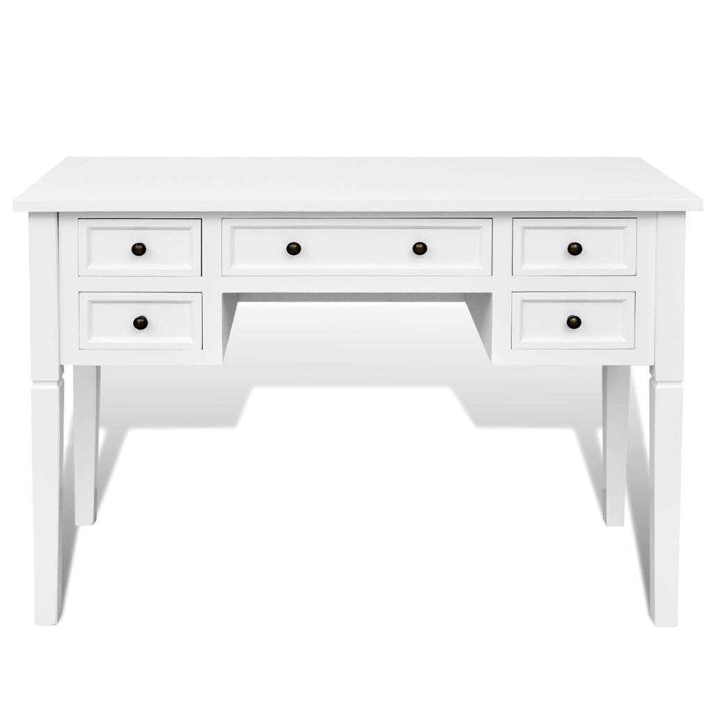 White Desk With 5 Drawers