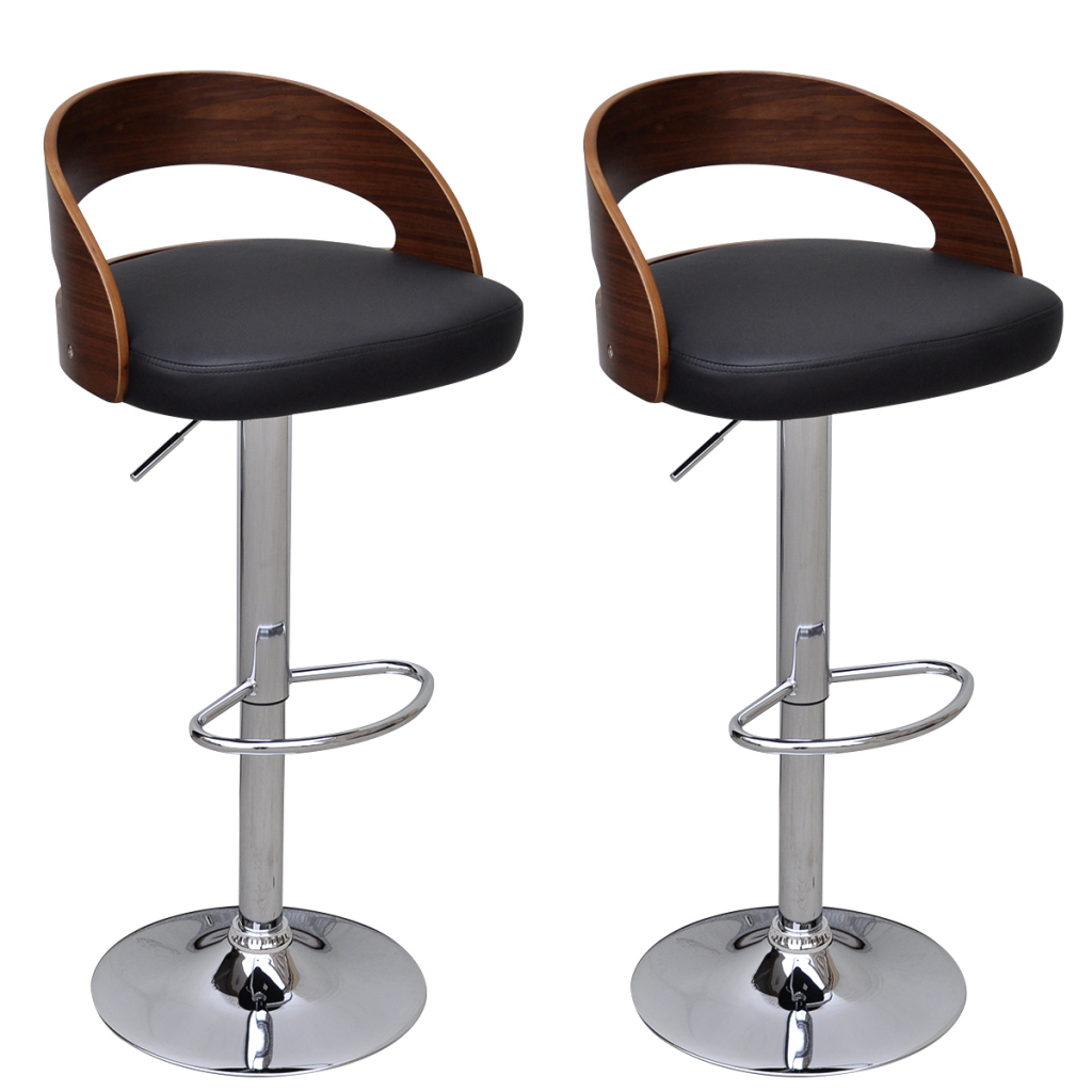 Super Black Brown 2 Pcs Curved Wooden Bar Stool With Adjustable Back Lovdock Com Machost Co Dining Chair Design Ideas Machostcouk
