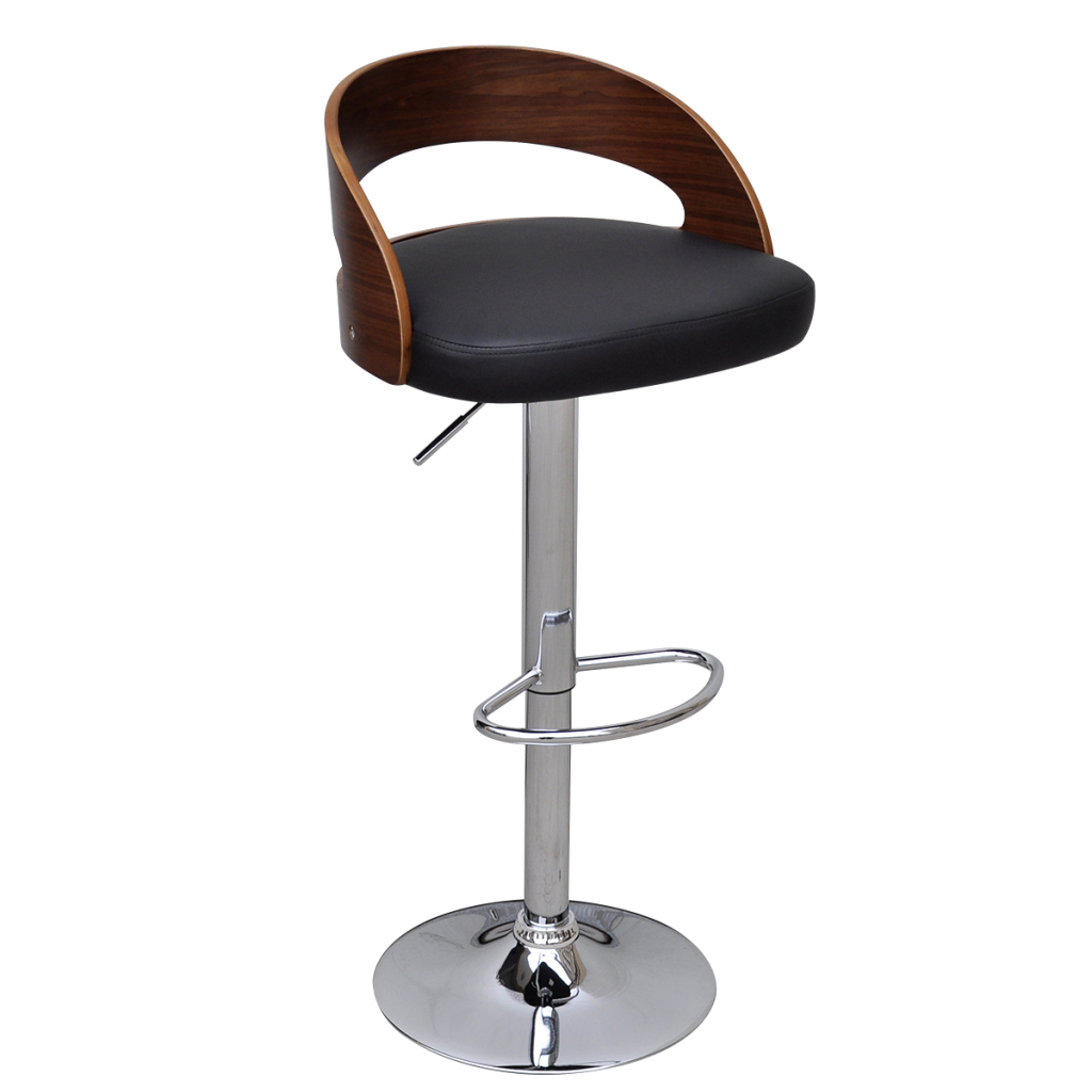 Awesome Black Brown 2 Pcs Curved Wooden Bar Stool With Adjustable Back Lovdock Com Machost Co Dining Chair Design Ideas Machostcouk