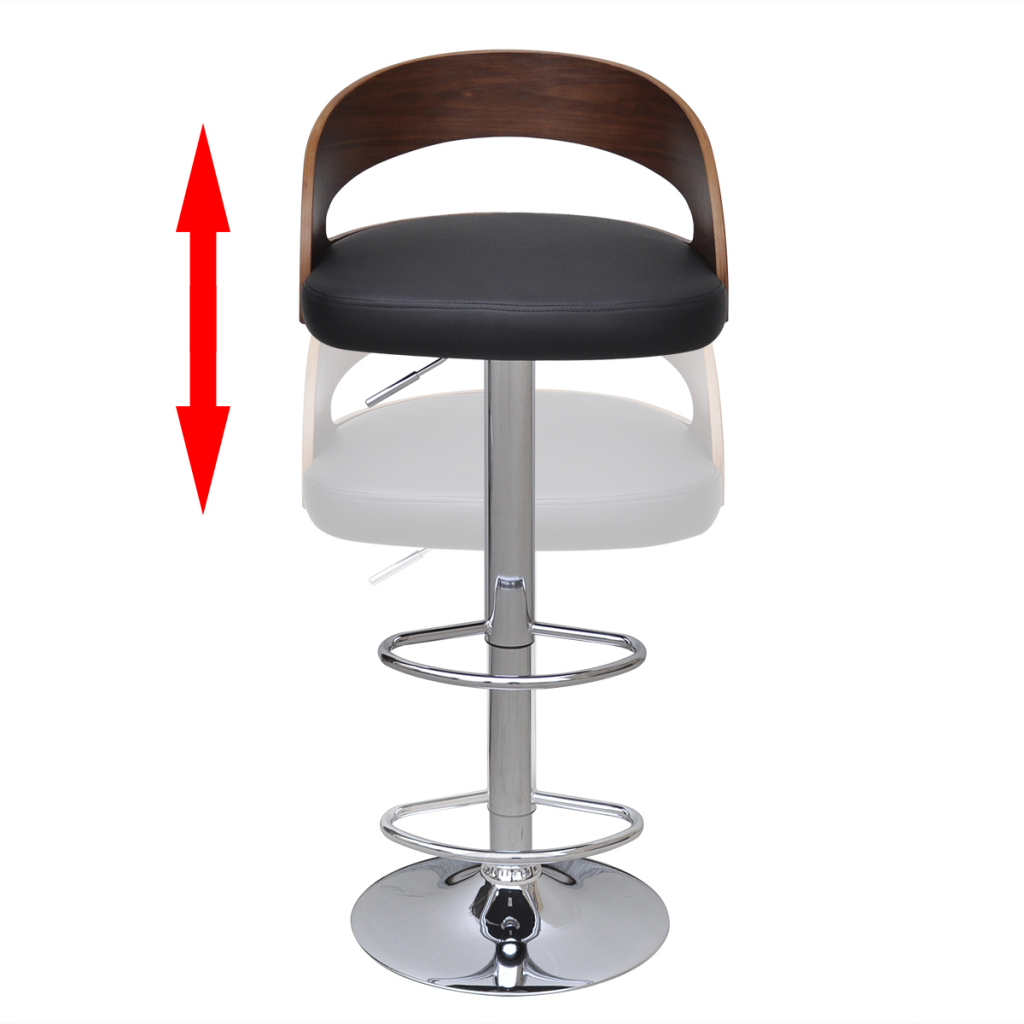 Tremendous Black Brown 2 Pcs Curved Wooden Bar Stool With Adjustable Back Lovdock Com Machost Co Dining Chair Design Ideas Machostcouk