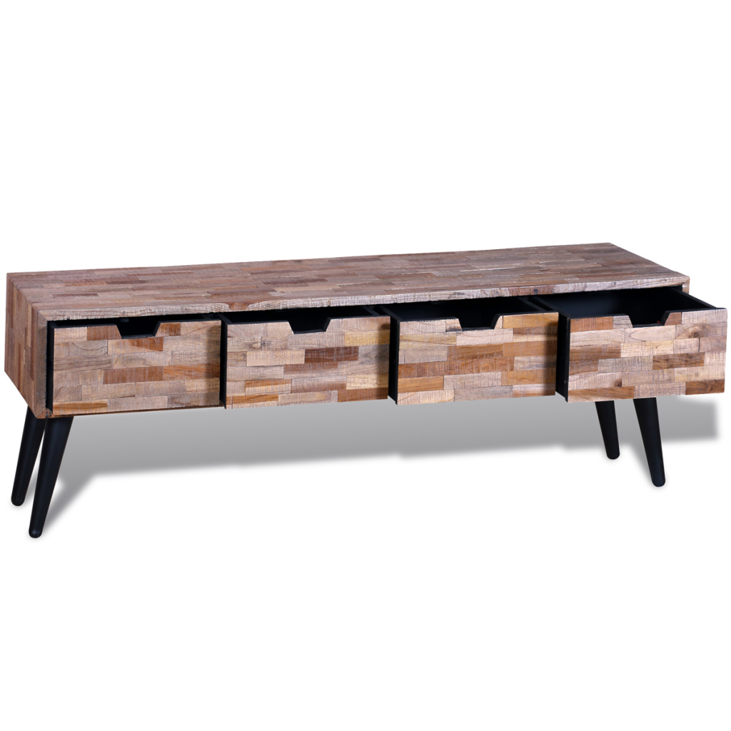 Wood Tv Cabinet Console With 4 Teak Wood Antique Drawers Lovdock Com