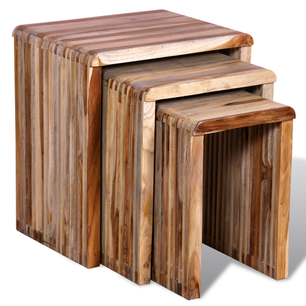 3 Nesting Tables In Teak Wood Antique