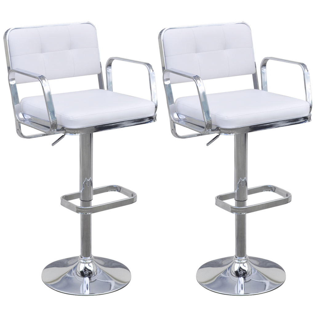 2 Height Adjustable Swivel Bar Stools With Armrests White