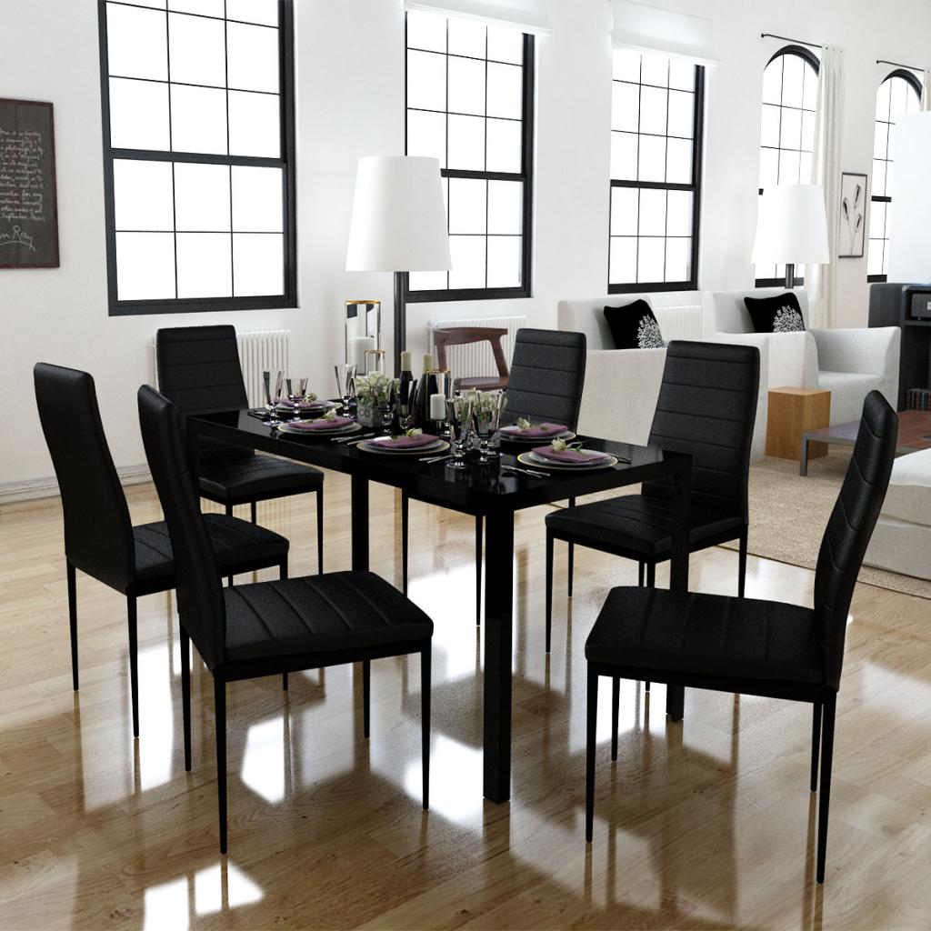 Slo 15708 Juego de comedor de 6 sillas negras 1 mesa de diseo