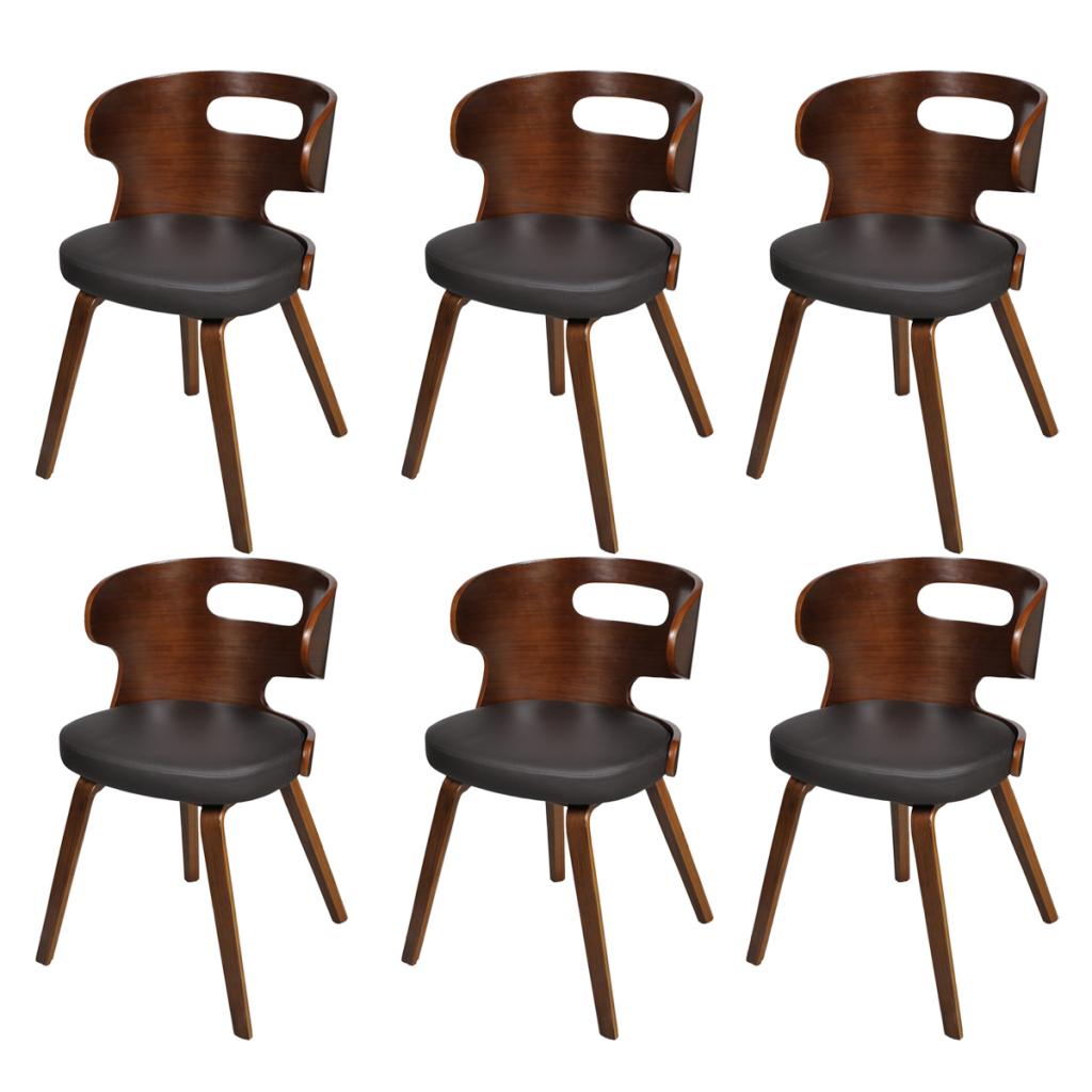nur set von 6 esszimmerst hle holzrahmen braun bent neutraler. Black Bedroom Furniture Sets. Home Design Ideas