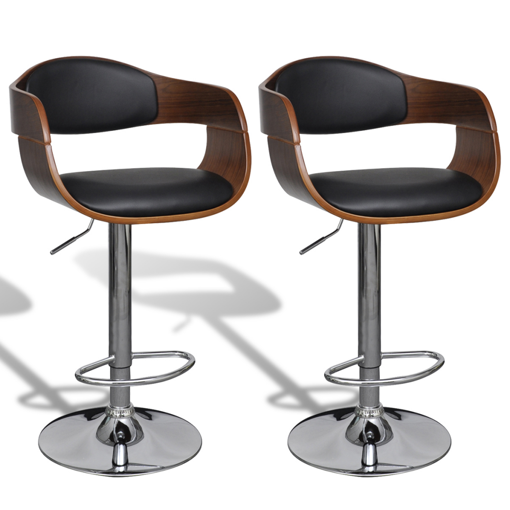 Fabulous Black Brown Leather Bar Stool Chair With Backrest Armrest 2 Pcs Lovdock Com Inzonedesignstudio Interior Chair Design Inzonedesignstudiocom