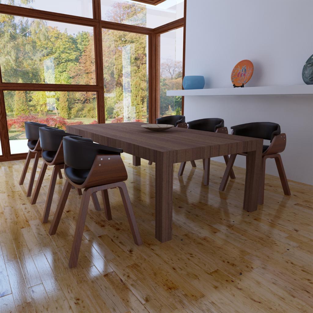 Sólo 643.51€, Moderno Madera Cuero artificial para silla de comedor ...