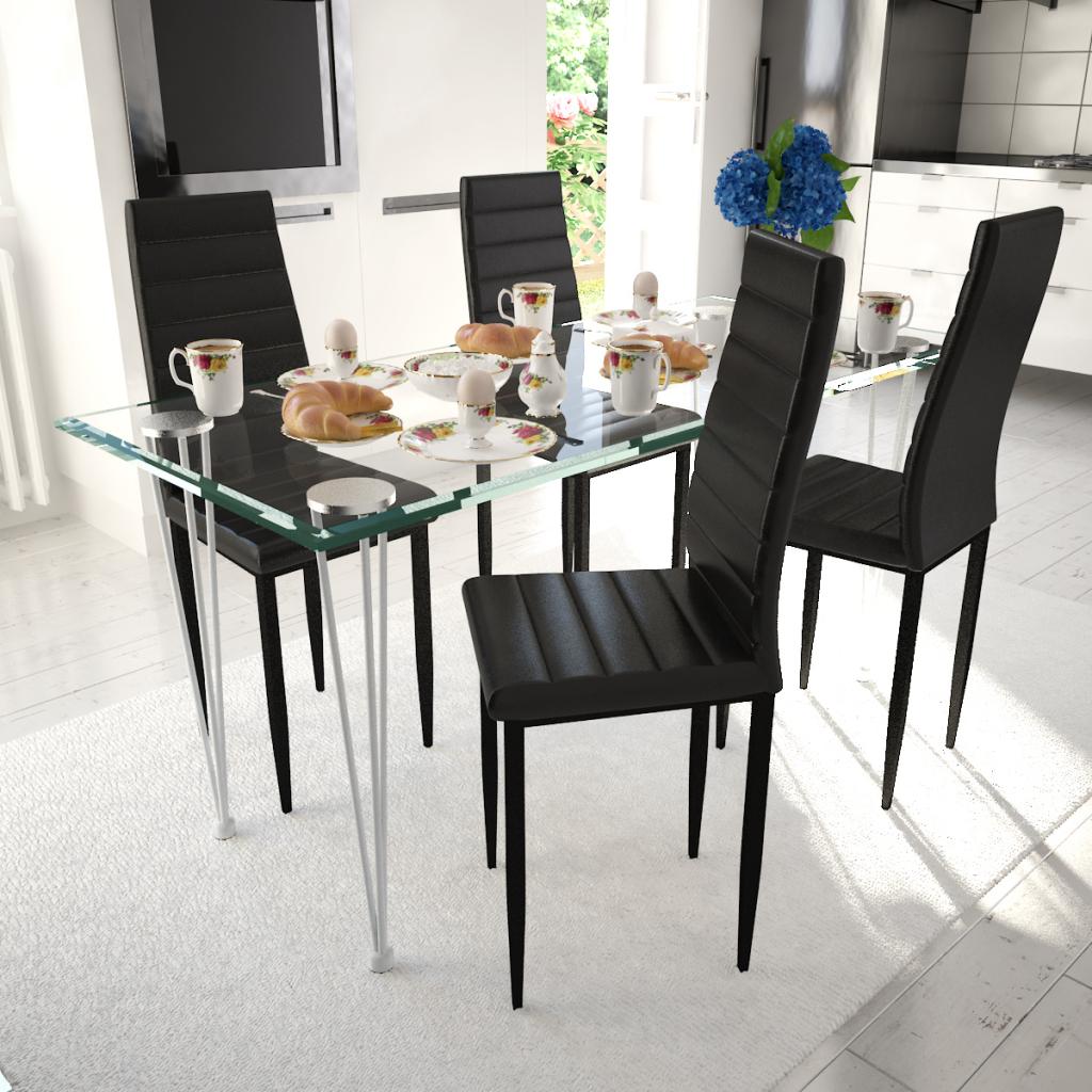 Sedie Per Tavolo Di Vetro.Solo 151 09 Pranzo Insieme 4 Pezzi Sedia Slim Line Nero Con 1 Tavolo Di Vetro Lovdock Com
