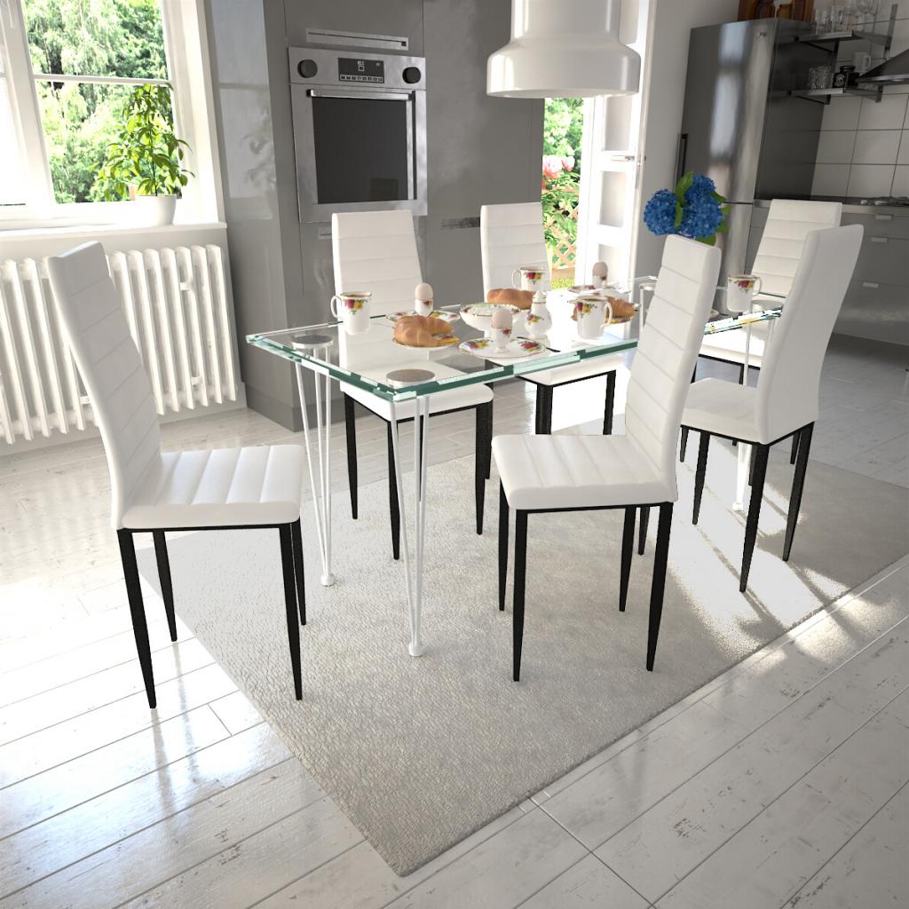 Bezaubernd Stühle Für Esstisch Beste Wahl 6 Weiße Stühle Slim Line Transparentem Glas