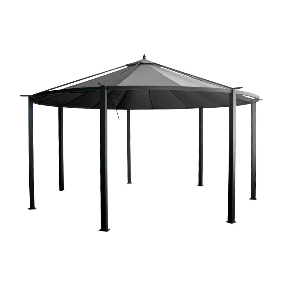Tente de jardin ronde 4,5 x 2,85m Polyester 300g/m² gris foncé à ...