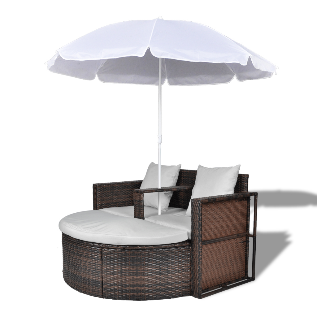Brown Brown Garden Poly Rattan Lounge Set With Parasol Outdoor