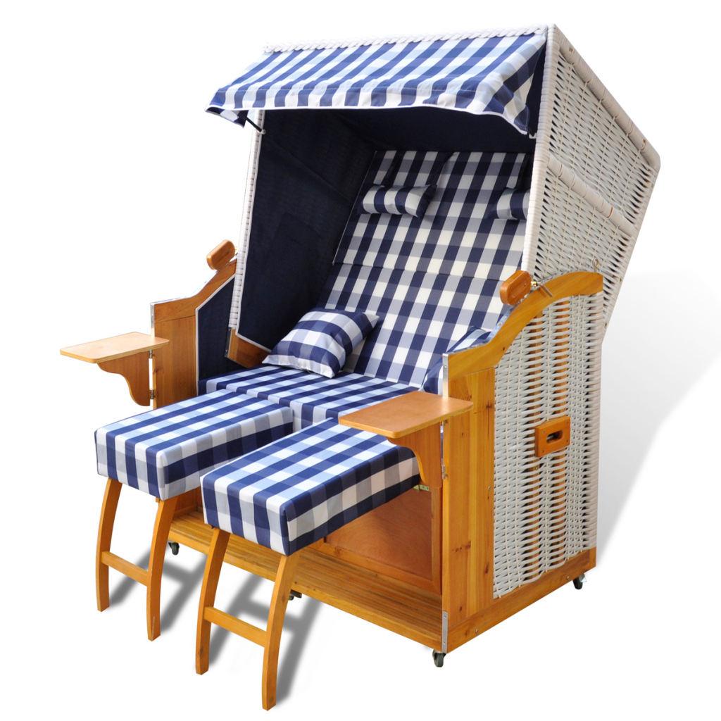 Wicker Beach Chair For 2 People In Blue White Pe Fabric