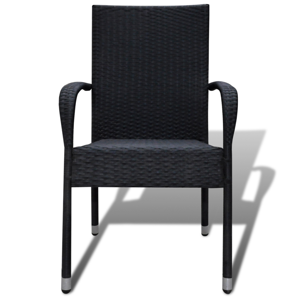 2x Poly Rattan Garden Furniture Chairs Stacking Chair Dining Black