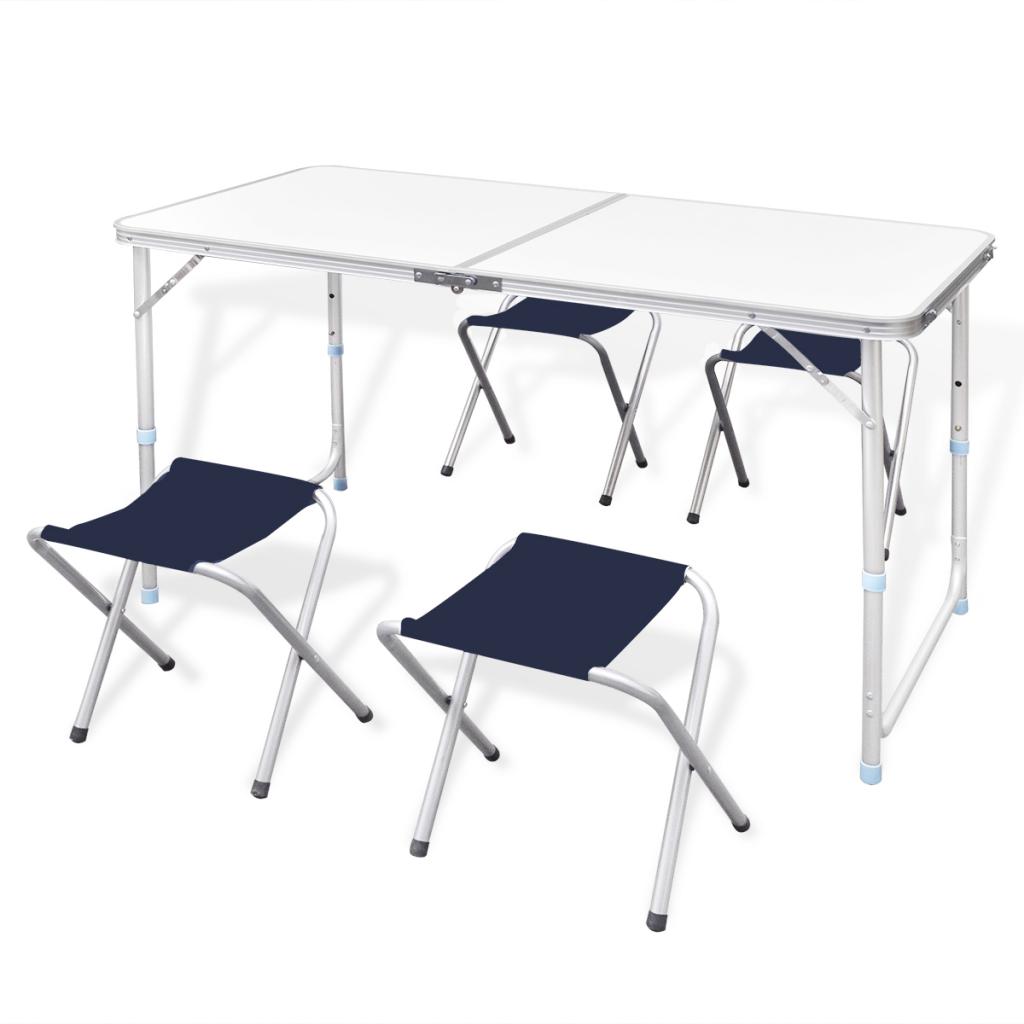 Only table de camping avec 4 chaises pliantes for Table pliable avec chaise