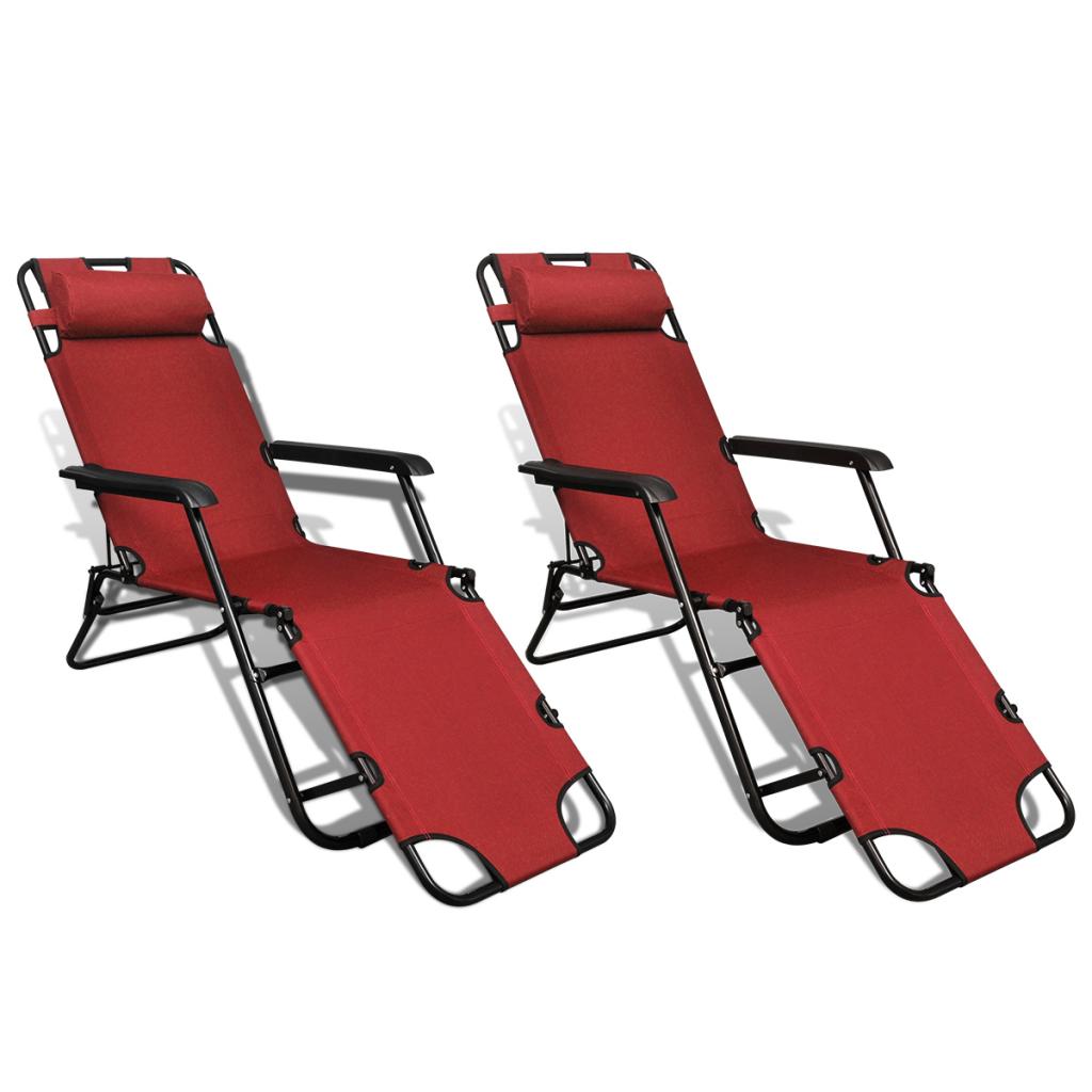 Only ensemble de 2 chaises longues pliables rouges for Chaise longue avec repose pied