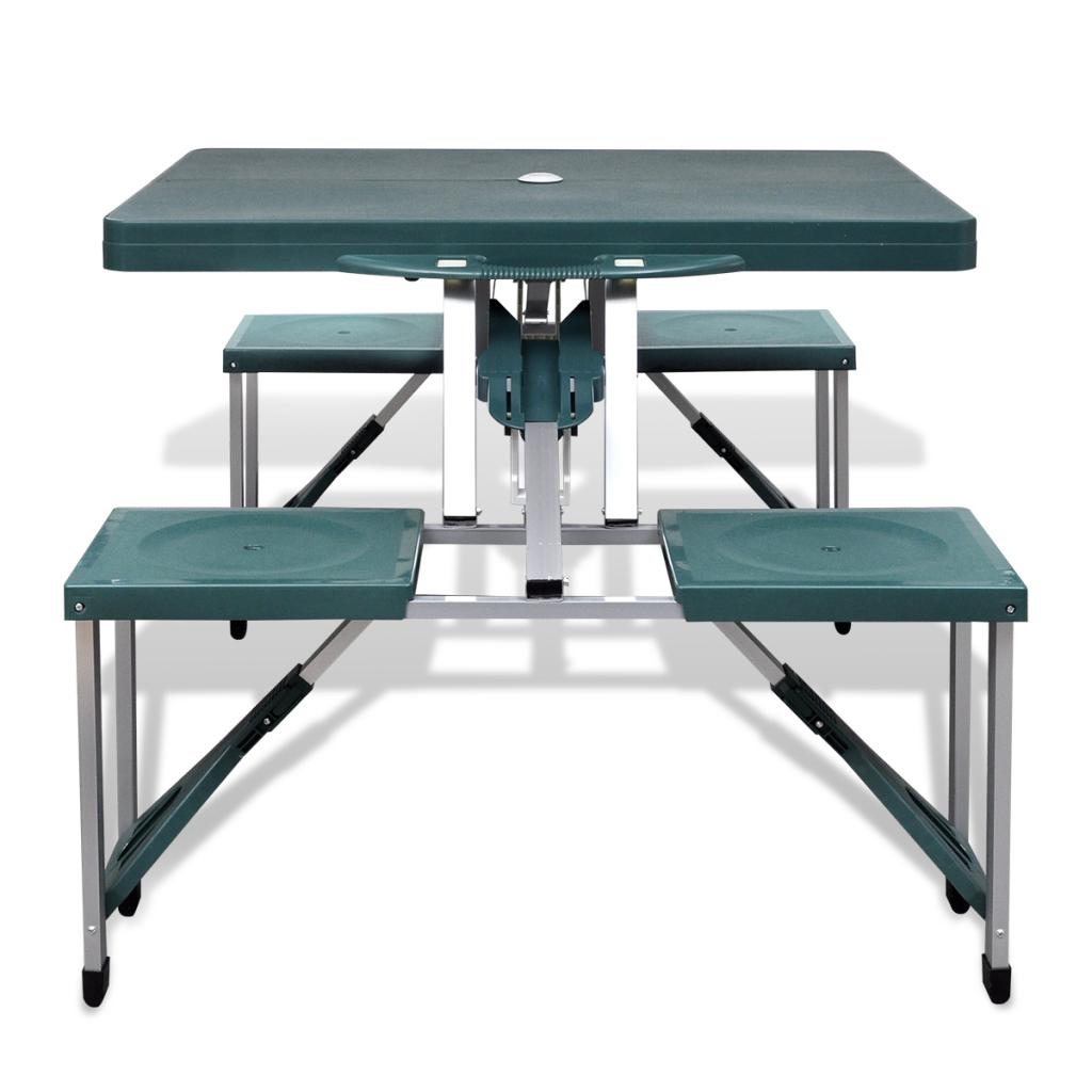 folding camping table set made of aluminum with 4 light green chairs. Black Bedroom Furniture Sets. Home Design Ideas