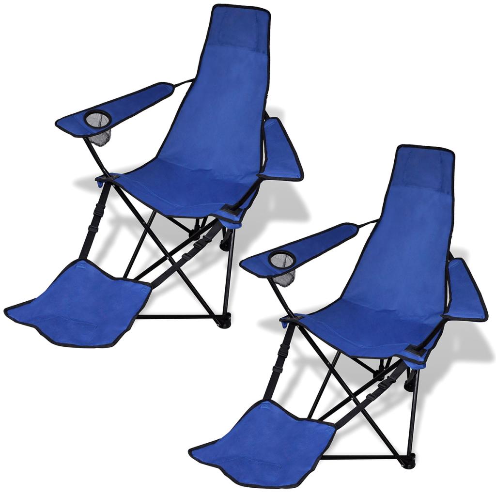 only camping chaise pliante bleu avec jeu de 2 repose pieds. Black Bedroom Furniture Sets. Home Design Ideas