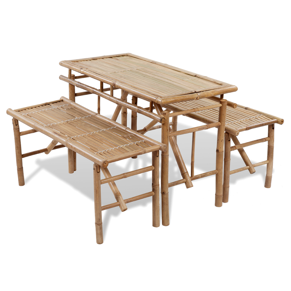 Merveilleux Picnic Set / Folding Brewery 1 Table And 2 Benches In Bamboo