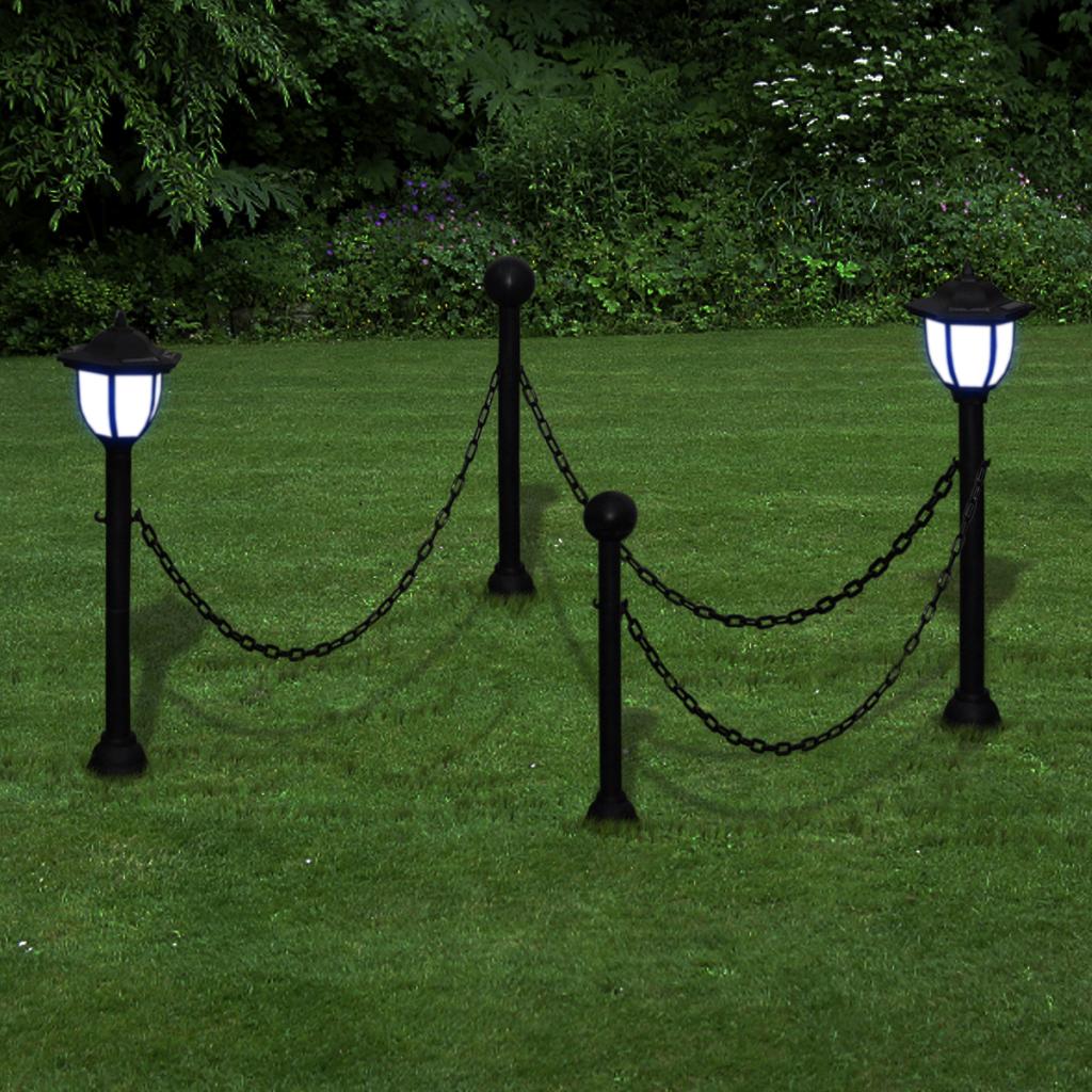 Nur 27.68€, Kette-Zaun mit Solarleuchten Zwei LED-Lampen Zwei Polen ...