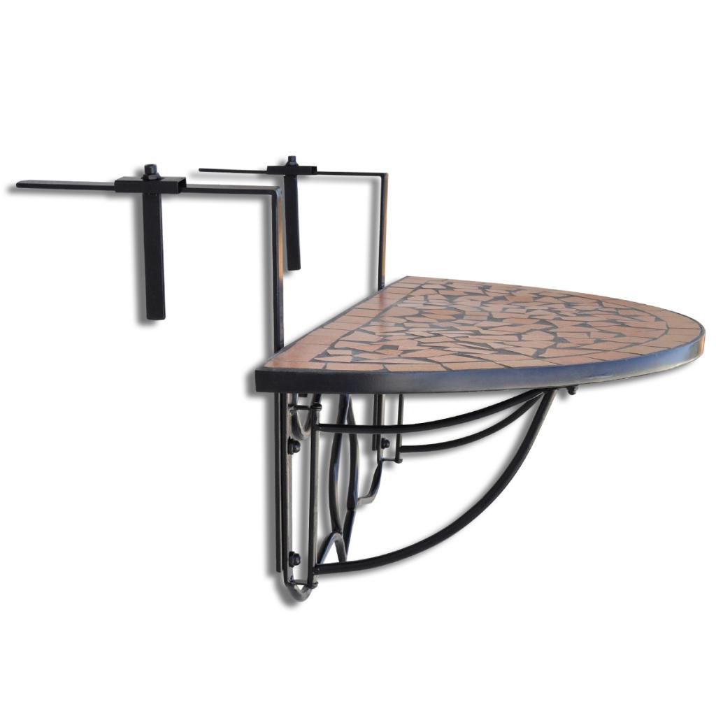 Brown Mosaic Balcony Table Hanging Semi Circular Terracotta