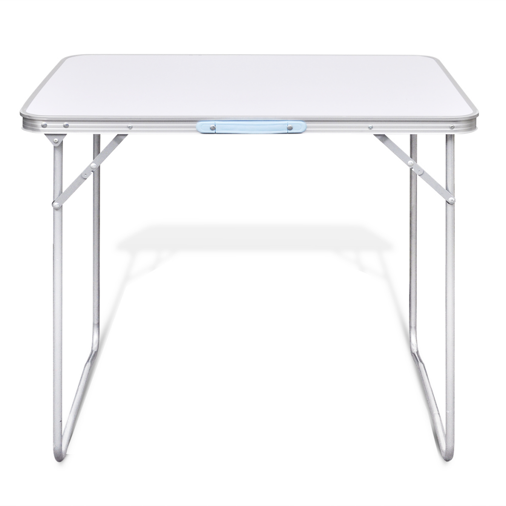 white Foldable Camping Table with Metal Frame 80 x 60 cm - LovDock.com