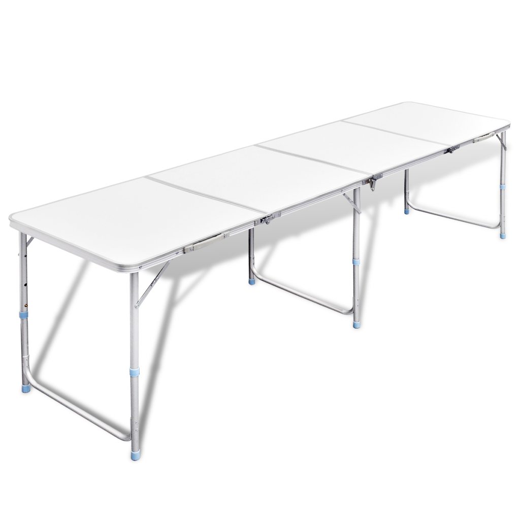 White foldable camping table height adjustable aluminium 240 x 60 cm - Camping table adjustable height ...