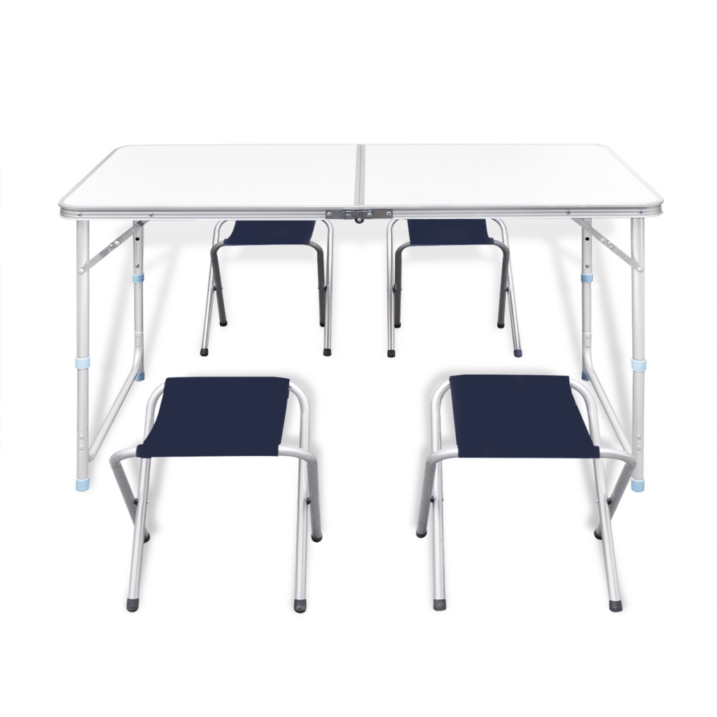 White da59 foldable camping table set with 4 stools height - Camping table adjustable height ...