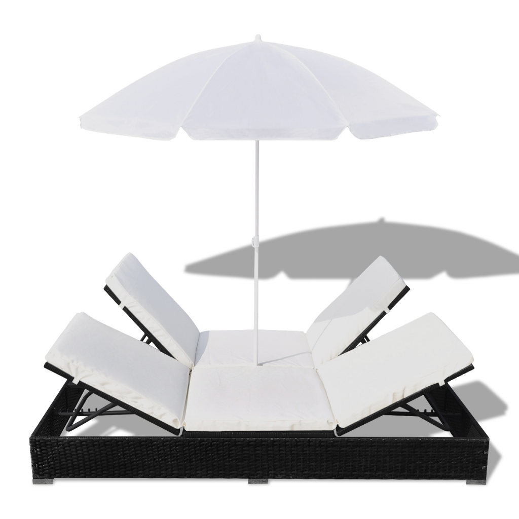 black Luxury Outdoor Poly Rattan Sun Lounger 2 Persons ...