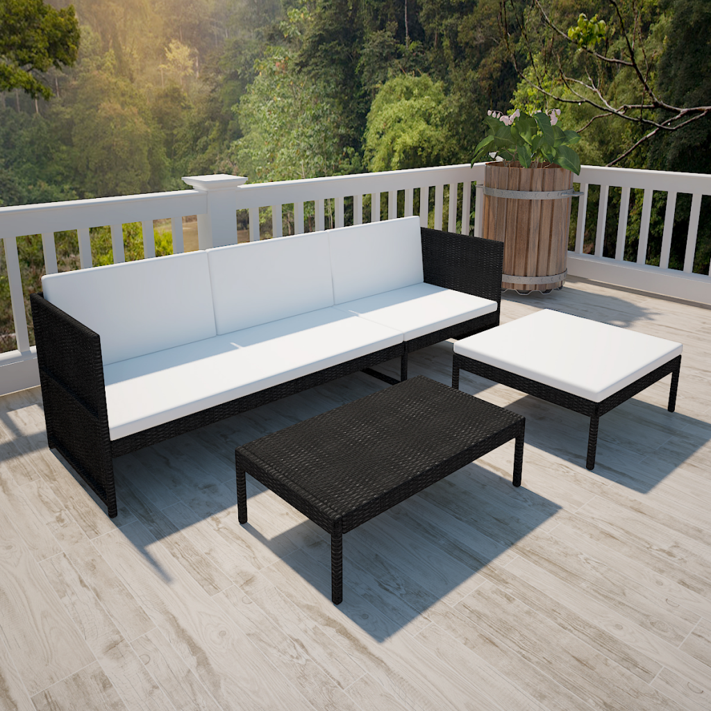 black white black outdoor poly rattan three seater lounge set. Black Bedroom Furniture Sets. Home Design Ideas