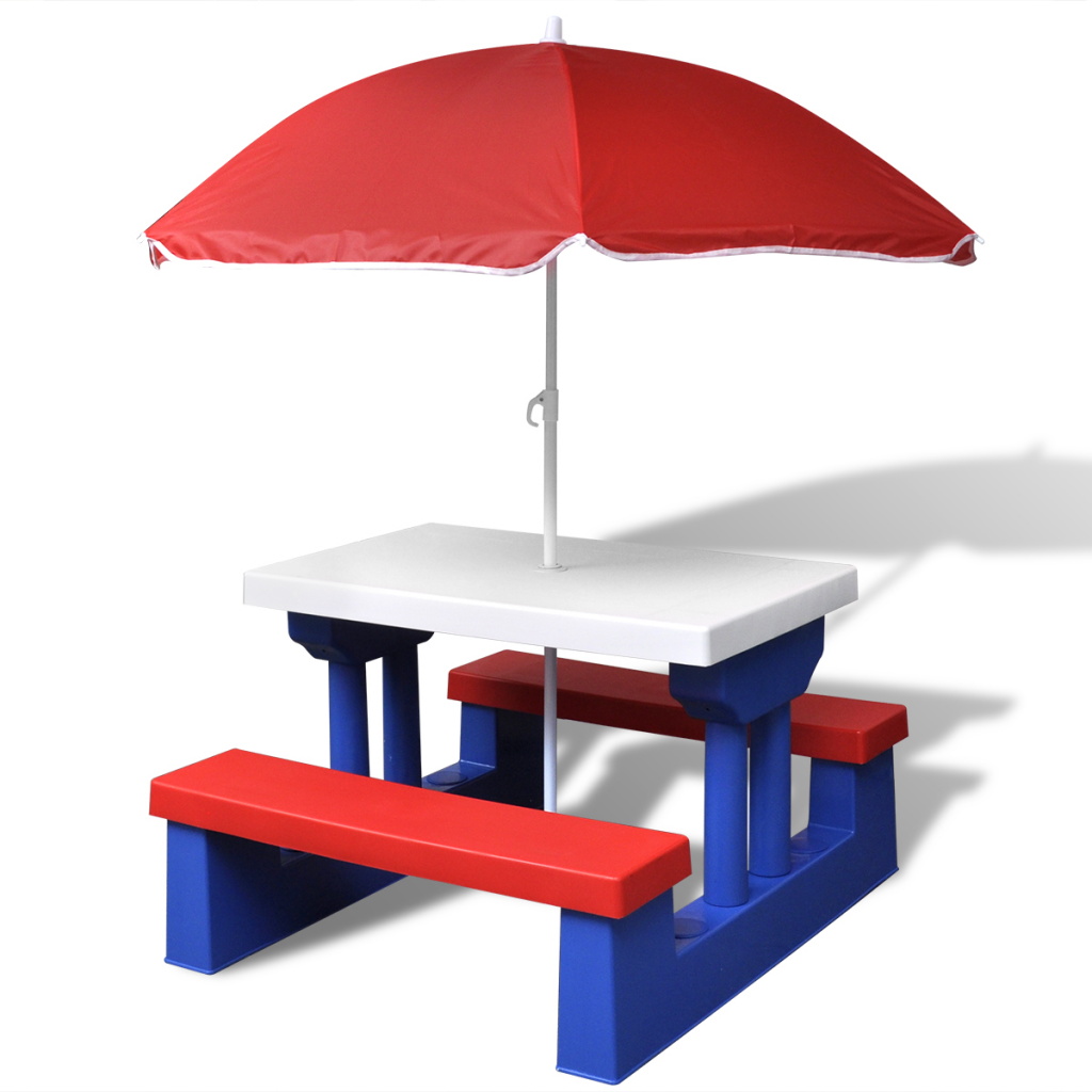 Red blue kids picnic table with umbrella for Table umbrella