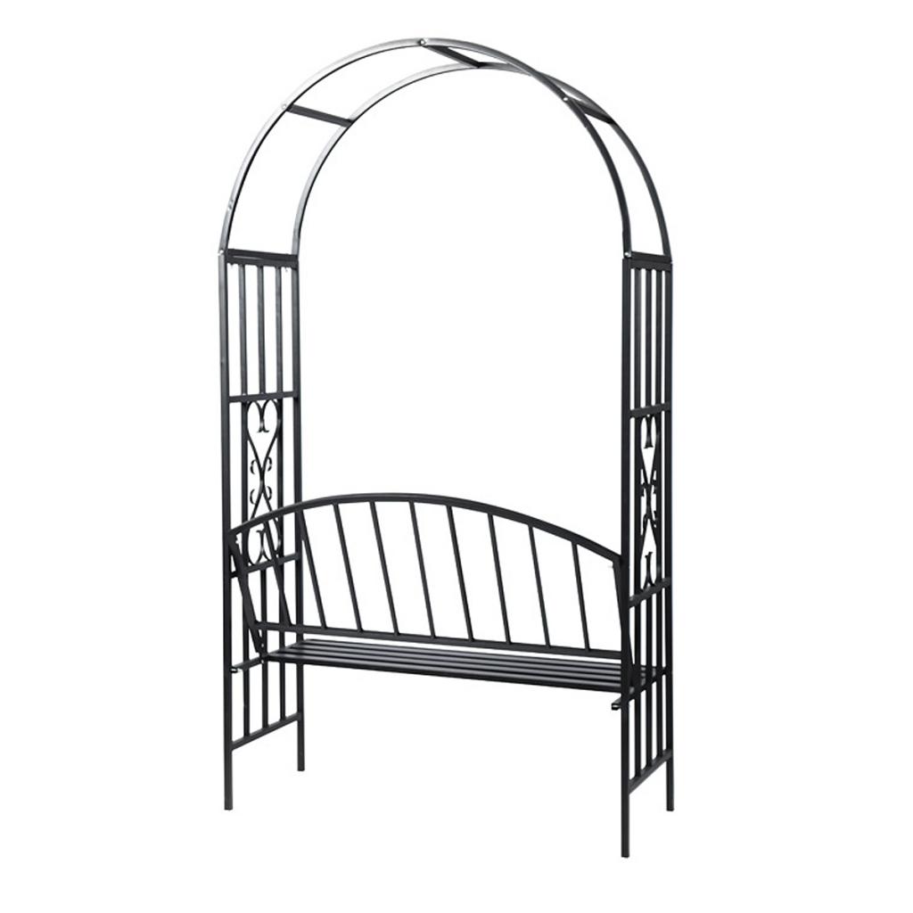 arche de jardin arceau de jardin en m tal avec banc support pour plantes grimpantes avec banc en. Black Bedroom Furniture Sets. Home Design Ideas