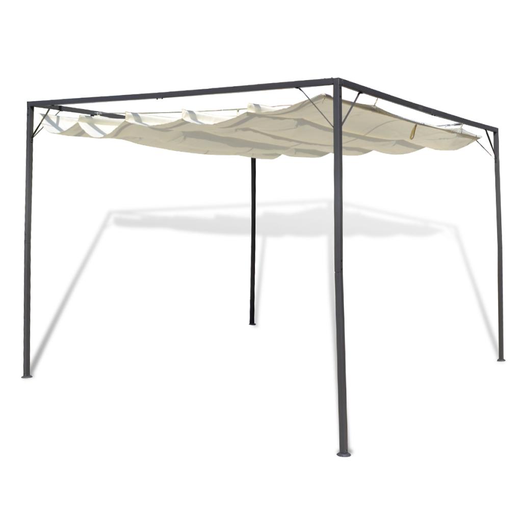 tonnelle de jardin 3x3m auvent avec pieds acier toit r tractable. Black Bedroom Furniture Sets. Home Design Ideas