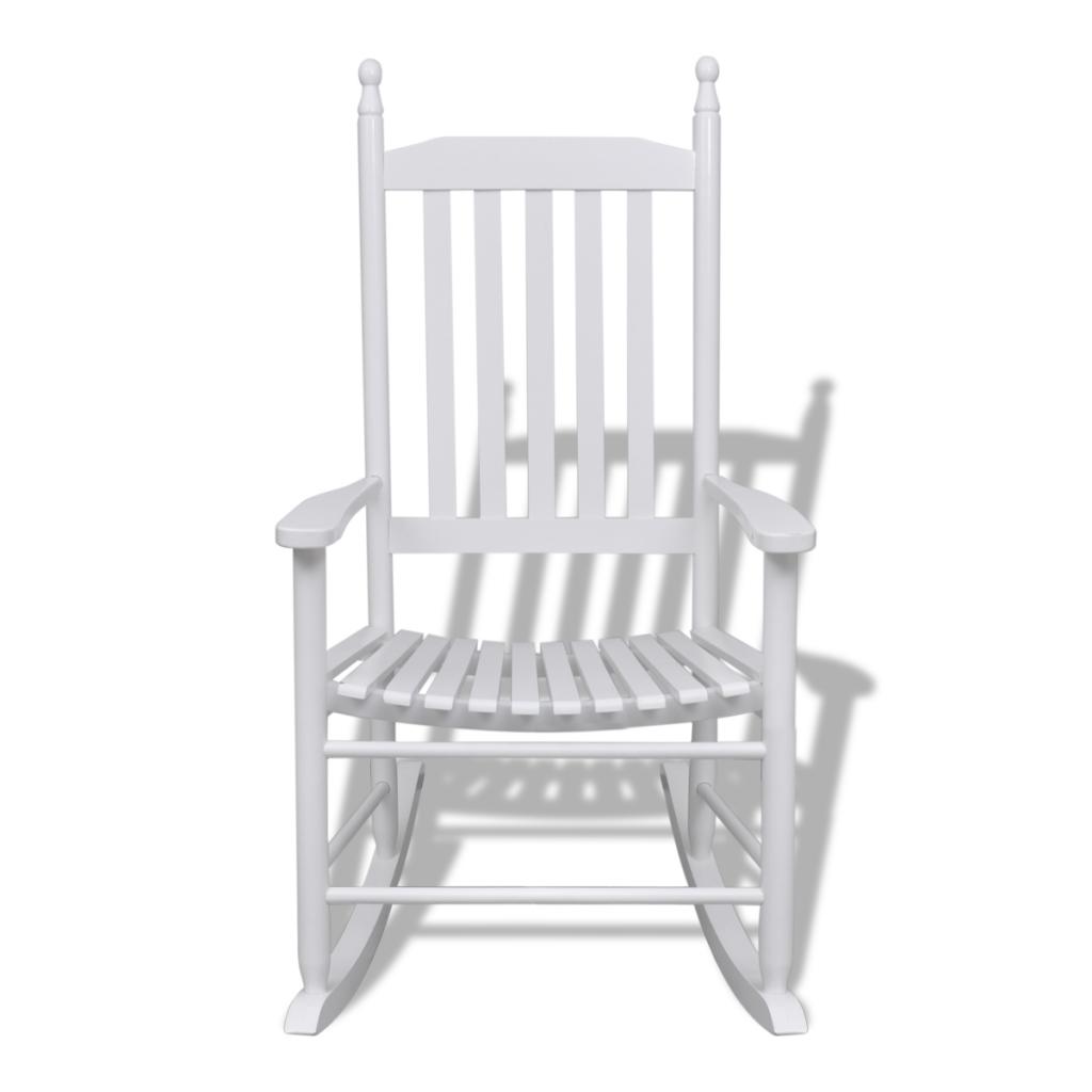 fauteuil bascule blanc bois chaise relaxation - Chaise A Bascule Blanche