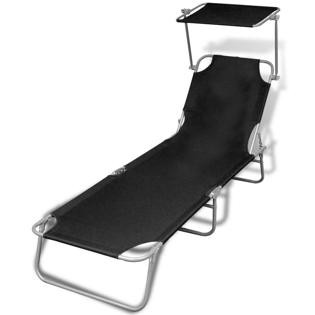 transat pliable avec pare soleil noir 189 x 58 x 27 cm l x l x h. Black Bedroom Furniture Sets. Home Design Ideas