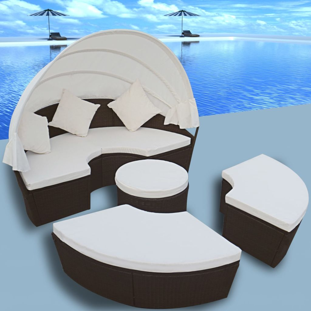 Salon de jardin modulable lit rond 6 places auvent polyrotin brun