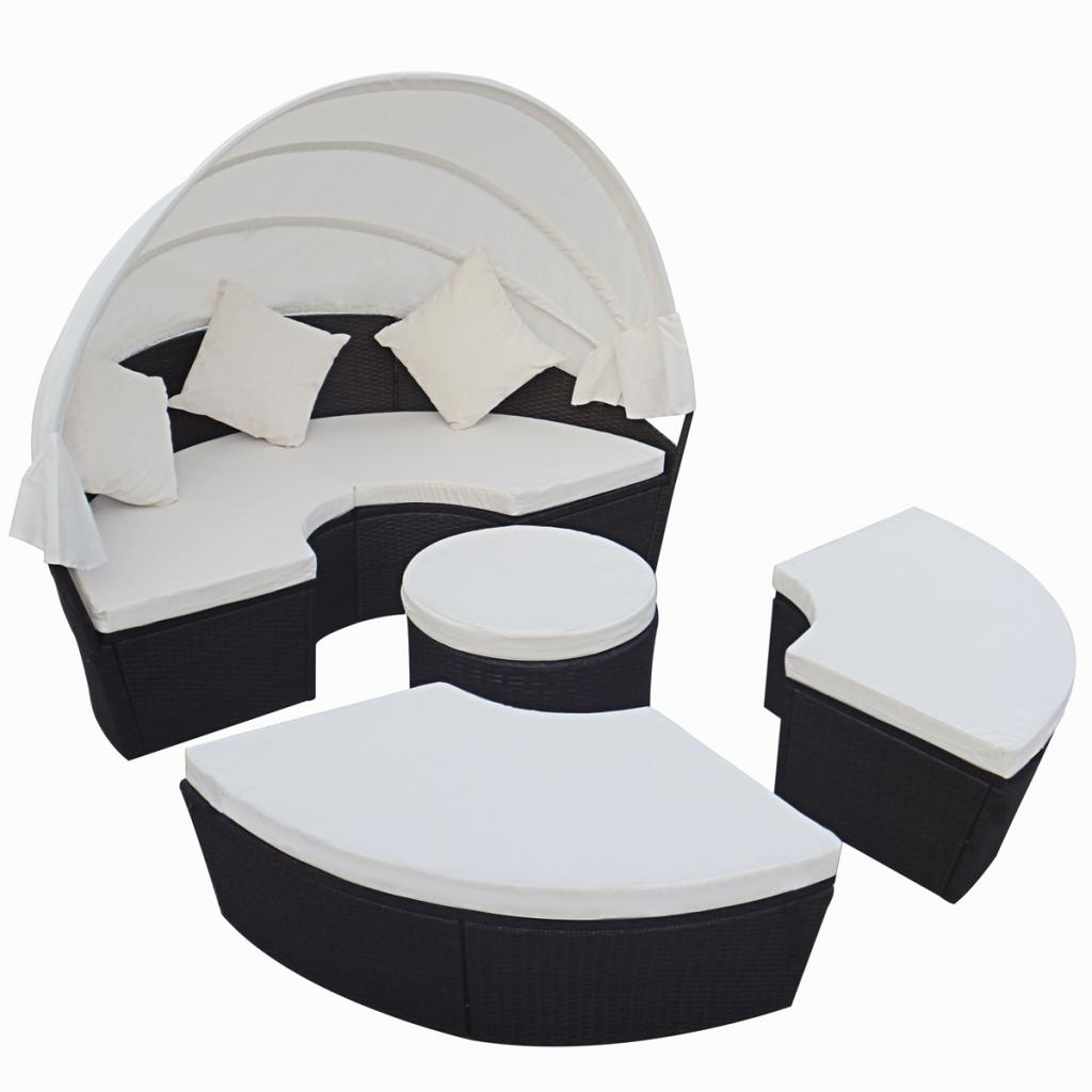 Salon de jardin modulable lit rond 6 places auvent polyrotin noir à ...