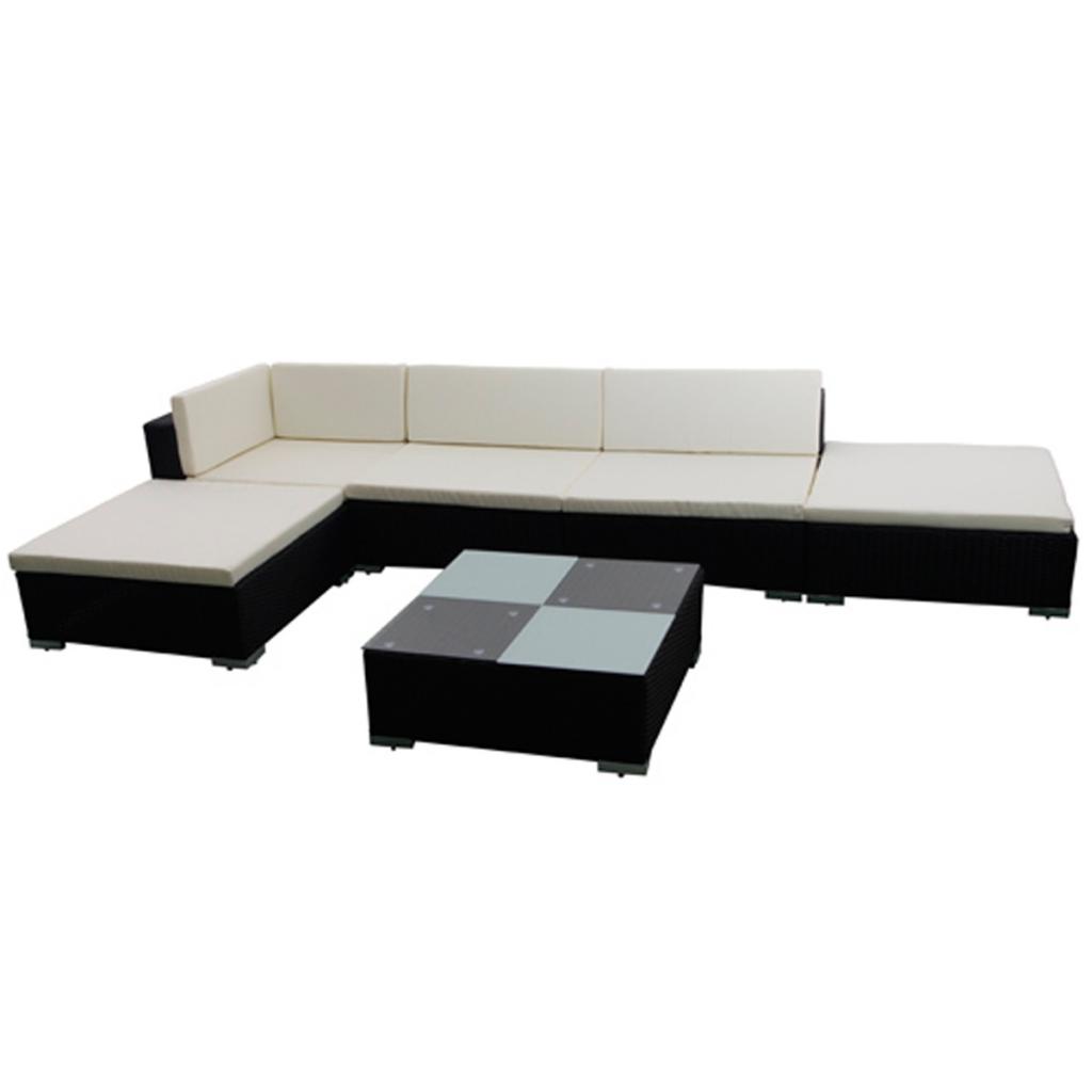 salon de jardin en rotin noir pour 6 personnes. Black Bedroom Furniture Sets. Home Design Ideas