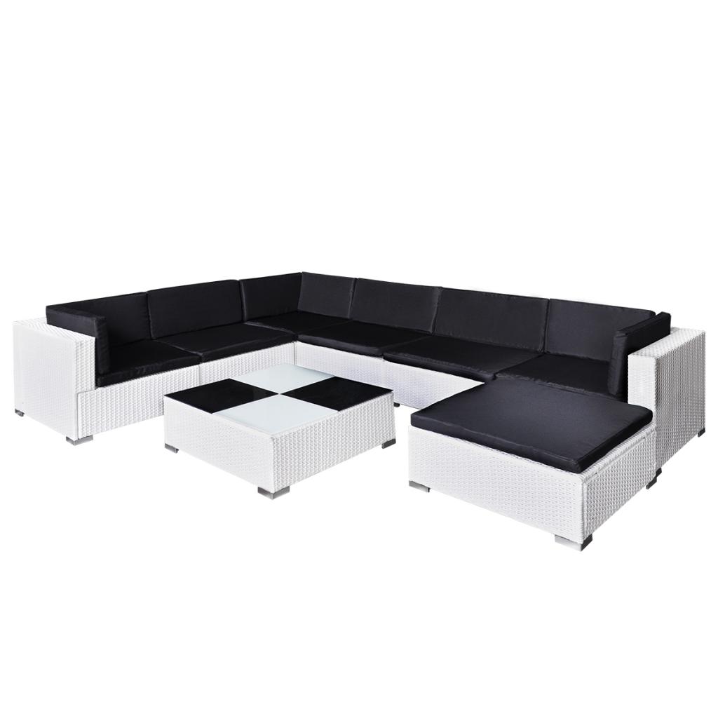 salon de jardin blanc en rotin pour 7 personnes. Black Bedroom Furniture Sets. Home Design Ideas